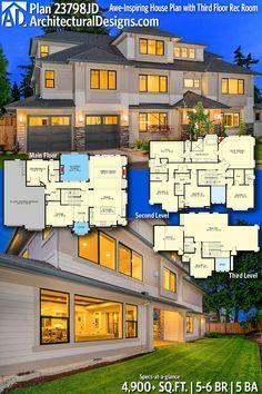 Plan 23798jd Awe Inspiring House Plan With Third Floor Rec Room Dream House Plans House Plans House Blueprints