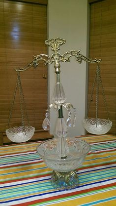 Vintage Scales of Justice w/ Ornate Brass & Crystals