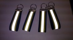 Key chains with reflective tape.