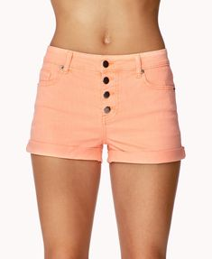 Button-Up Denim Shorts Forever21