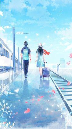 Couple walking with suitcase on train platform illustration art Couple Manga, Love Cartoon Couple, Anime Love Couple, Cute Anime Couples, Cute Couple Drawings, Cute Couple Art, Art Anime, Anime Art Girl, Couple Illustration