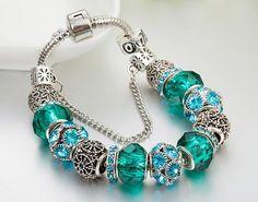 dark green color diamond charm bracelet#charm#bracelet#muranoglass#silver