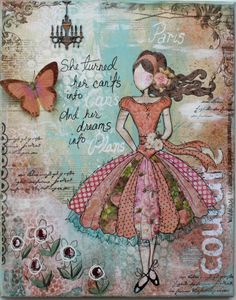 Supplies:  11 x 14 inch canvas  Patterned Paper; Little Miss Brenna, Little Miss Maree, Little Miss Jaquoya, Little Miss Cut Outs, Gabrielle: Cameo, Dot  6x6 Paper Pad: Little Miss  Stamps: Midnight Frost  Rub-on's: Country Garden