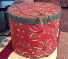 Antique Red Quilted Bandbox Hatbox 1900-1940 #Americana
