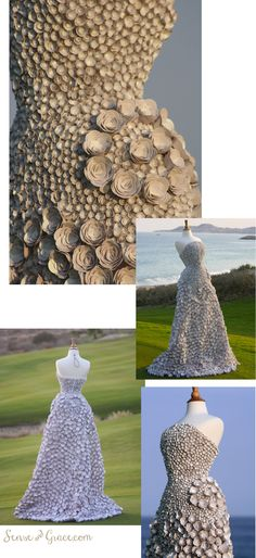 Wedding dress made from paper. Valeria Garcia my talented friend makes many things for weddings and events from recycled material.