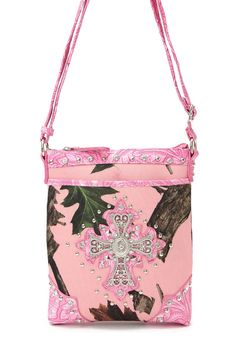 Pink Camouflage CROSS And Studs Accented Cross Body Messenger Bag #GetEverythingElse #MessengerCrossBody