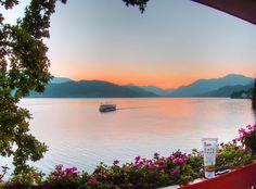 Traumhafter Sonnenuntergang mit der Gehwol Fusskraft Soft Feet Creme am Millstätter See
