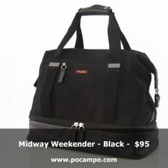 Midway Weekender - Black - $95    Looking for a bag that truly holds enough for a weekend away without feeling colossal? We designed this bag to fit what you need, but still be comfortable to carry. http://shop.pocampo.com/collections/all/products/midway-weekender