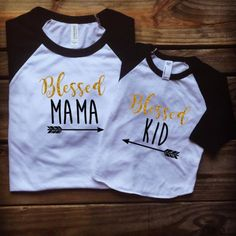 Blessed mama, blessed kid, mother daughter matching shirts, mother son matcing shirts, mother daughter, mommy and me outfits, UNISEX by MillysAndDillys on Etsy https://www.etsy.com/listing/385003934/blessed-mama-blessed-kid-mother-daughter