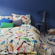 Splatter Duvet Set, this luxurious bed linen boasts a paint splatter design in multi-colours. Perfect for updating a little one's bedroom, the single duvet cover comes complete with one pillowcase Kids Bed Linen, Bed Linen Sets, Duvet Sets, Blanket Cover, Quilt Cover Sets, Dispositions Chambre, Bed Linen Australia, Luxury Bedding Collections, Single Duvet Cover