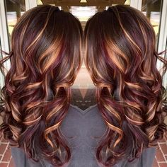 Brunette hair color with burnished blonde highlights Curly long brunette hair… by janice
