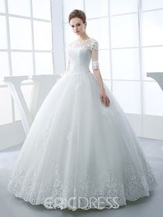 Half Sleeve Scoop Neck Appliques Beading Ball Gown Wedding Dress - About Wedding Princess Wedding Dresses, Modest Wedding Dresses, Bridal Dresses, Wedding Gowns, Lace Wedding, 2017 Wedding, Wedding Suits, Old Fashioned Wedding Dresses, Christian Wedding Dress