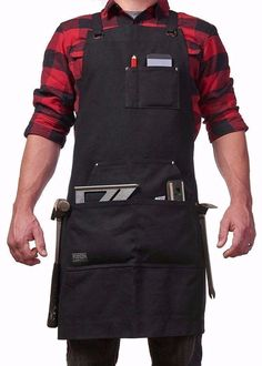 Hudson Durable Goods - Deluxe Edition - Waxed Canvas Tool Apron with Pockets (Black) - Upgraded with Quick Release Buckle & Dual Hammer Loops, Adjustable up to XXL Grill Apron, Chef Apron, Man Apron, Tool Apron, Work Aprons, Sand Bag, Woodworking Apron, Aprons For Men, Linen Store