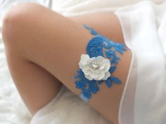 free ship blue white lace garter  bridal garter by ByMiracleBridal