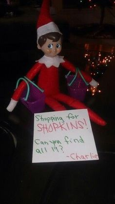 Elf on the shelf Shopkins hunt. Hide shopkins and let kids find them with Shopkins baskets. Of course hide Shopkins in the open since they are small. You want it fun for the littles. :-)