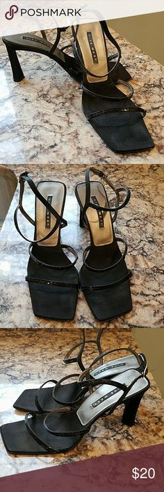 """Nine west sandals This is a pr of 9 west 3 1/2 """" heels.  They have 2 straps that cover the top of the foot.  The straps have sequins covering for a bit of shimmer.  They also have ankle straps.  These are very gently worn but in great condition. Nine West Shoes Heels"""