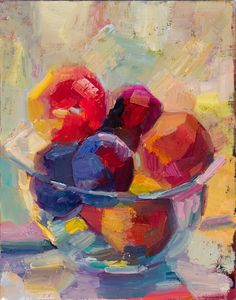 A bowl of plums and peaches by Lena Levin