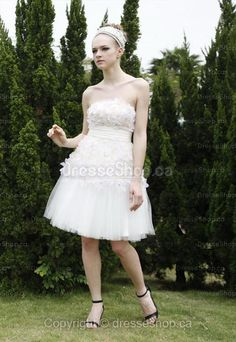 Knee-length White Flowers Party Dress