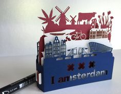 Pop up Card, 3d card, Amsterdam Flag, paper cut, paper craft, gift for her, gift for him, greeting card. Holland. Netherlands.