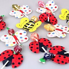 2.79AUD - 50Pcs Hot Candy Lollipop Decoration Gift Cute Insect Bees Ladybug Butterfly #ebay #Home & Garden