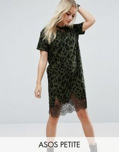 ASOS PETITE T-Shirt Dress with Lace Inserts in Animal Print
