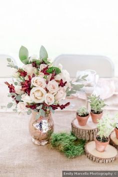 Wedding table decor ideas - centerpiece, romantic, roses, flowers, red, pink, succulents {Emily Marcella Photography} Tent Wedding, Wedding Table, Fall Wedding, Wedding Reception, Burgundy And Blush Wedding, Blush Wedding Flowers, Romantic Weddings, Real Weddings, Romantic Roses