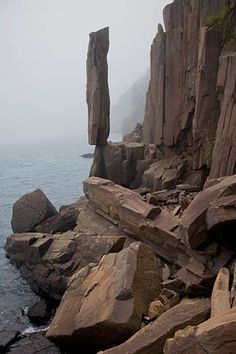 """This """"Balancing Rock"""", found in Nova Scotia, is a foot high spire of colu… – 2020 World Travel Populler Travel Country Beautiful World, Beautiful Places, Photos Voyages, Rock Formations, Canada Travel, Natural Wonders, Amazing Nature, Belle Photo, Wonders Of The World"""