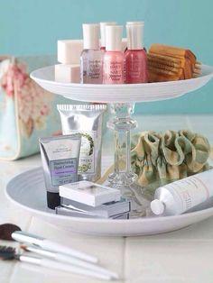 Use Cake Stand As Bathroom Organizer#tipit#DIY&Crafts#Trusper#Tip