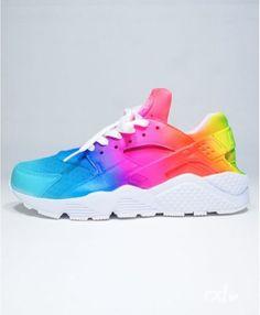 c4569c7fc04d Nike Air Huarache Rxl Custom Rainbow Remix Line Navy Pink Yellow Trainer  Very light