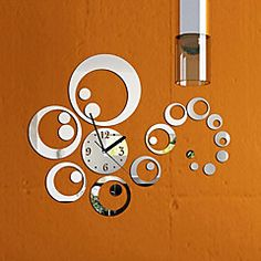 Fashion Removable Clock Mirror Style DIY Art Wall Stickers For Home Decor  (Silver)
