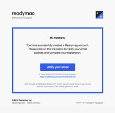 @readymagpins  sent this email with the subject line: Email Verification - Simple colorful activation email with a clear as day CTA. Read about this email and find more verification emails at ReallyGoodEmails.com #app #publication #verification #welcome