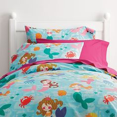 mermaid dance percale kids duvet cover company kids - Kid Sheets