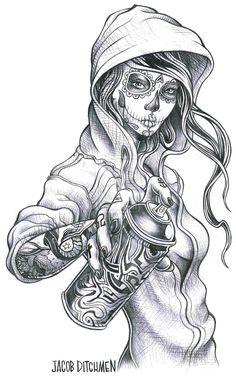 Day of the dead hood girl