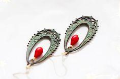 Patina peacock earrings red drop