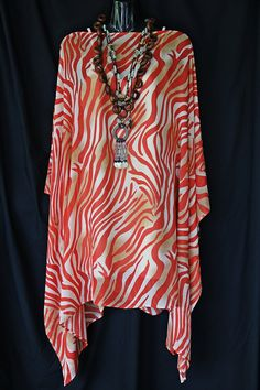 Burnt Orange Zebra Print Kaftan by MollyKaftans on Etsy, $69.00
