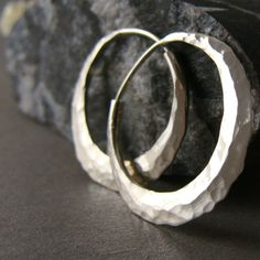 sterling silver hoop earrings 1 inch hammered, endless style, recycled silver, created in solar powered studio