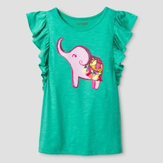 Girls' Sleeveless Baby Elephant Graphic T-Shirt Cat & Jack Jade Tree XS, Infant Girl's, Green