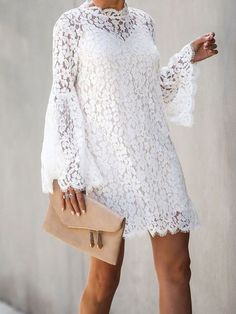 Above Knee Long Sleeve Hollow Lace Floral Womens A-Line DressYou can find Lace dresses and more on our website.Above Knee Long Sleeve Hollow Lace Floral Womens A-Line Dress African Fashion Dresses, African Dress, Mode Outfits, Fashion Outfits, Dress Fashion, Fashion Women, High Fashion, Looks Chic, Dress Suits