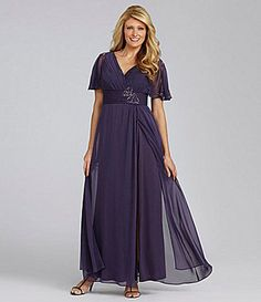 ShopStyle: S.L. Fashions Woman Chiffon Flutter-Sleeve Gown