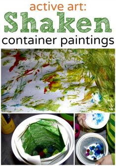 Active art project for kids - shaken container painting