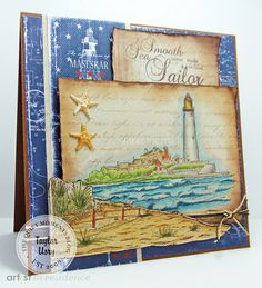 Crafter's Companion: Lighthouse Blues: created using Sheena Douglass 'A Little Bit Scenic' stamps, colored with @spectrumnoir blendable pencils #majadesigns #imaginecrafts