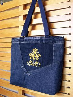 Denim Bag Embroidery yellow flower Shoulder Handbag women gift
