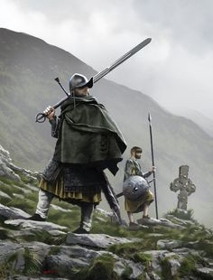 Irish Gallowglass warrior and Irish Kern, Marc Grunert on ArtStation at https://www.artstation.com/artwork/Qa1Bd
