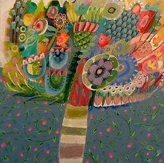 Original acrylic painting box canvas, colourful, garden, floral, modern, flowers