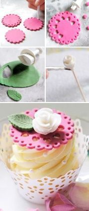 ideas cupcakes decoration fondant flowers for 2019 Cakes To Make, How To Make Cake, Cake Decorating Techniques, Cake Decorating Tutorials, Cookie Decorating, Decorating Cakes, Cookies Cupcake, Fondant Cupcake Toppers, Cupcakes Design