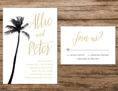 Palm Tree Wedding Invitation by AlexaNelsonPrints