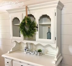 Perfect Farmhouse style hutch with a milky white distressed finish.