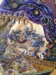 Crazy quilt with shibori silk ribbon. Pat Winter - Love the basket of flowers!