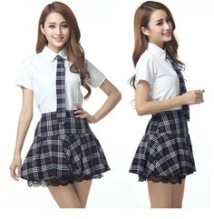 Girl High College School Uniforms Sailor Shirt Plaid Skirt Cosplay Costume