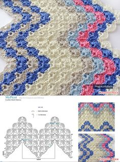 Crochet Ripple - shell stitch Diagram + step by step instructionsCrochet Patterns Stitches Crochet patterns from MyPicot + link to the MK.MyPicot is always looking for excellence and intends to be the most authentic, creative, and innovative advanced Crochet Afghans, Picot Crochet, Zig Zag Crochet, Crochet Ripple, Crochet Bedspread, Crochet Diagram, Crochet Stitches Patterns, Crochet Chart, Crochet Squares